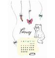 doodle kitty calendar for february 2018 vector image