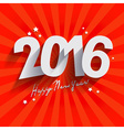 2016 White Paper Origami Happy new Year card or vector image vector image