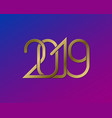2019 happy new year greeting card design vector image vector image