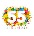 55 years anniversary paper colorful logo vector image vector image