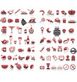 77 food and drink icons set for white background vector image