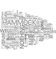 a hammock perspective of life text word cloud vector image vector image