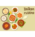 Balkan cuisine traditional meat dishes icon vector image vector image