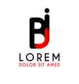 bi letter black logo with gradient arrow vector image vector image