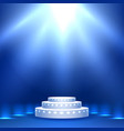 blue stage podium with lighting vector image