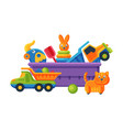 box with various colorful toys plastic container vector image vector image
