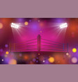 boxing ring arena and spotlight floodlights on vector image vector image