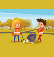 boy and girl wearing orange vests collect rubbish vector image