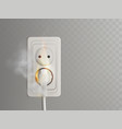 burning electrical outlet with power plug vector image vector image
