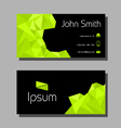 Business card polygon style - green and black vector image vector image