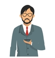 businessman holding cellphone icon vector image vector image