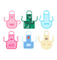 cartoon color kitchen apron icon set vector image vector image
