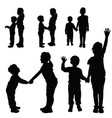 children silhouette happy and cute vector image vector image