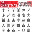 christmas glyph icon set new year symbols vector image vector image