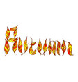 colorful autumn word doodle lettering artwork vector image