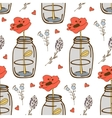 Colorful seamless pattern with flower in a jar vector image