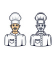 cook character two styles black and cartoon vector image vector image