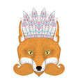 cute boho red fox portrait face with war vector image