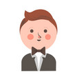 cute boy in tuxedo and bowtie with round head vector image vector image