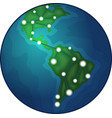earth with graph icon vector image vector image