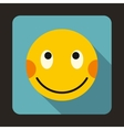 Embarrassed emoticon with flushed red cheeks icon vector image