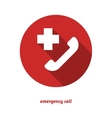 Emergency call flat icon with long shadow vector image
