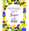 flowers save the date wedding card vector image vector image