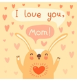 Greeting card for mom with cute rabbit vector image vector image