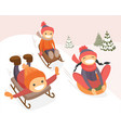 group of caucasian kids enjoying a sleigh ride vector image