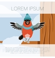 happy bullfinch with hat on winter background vector image vector image