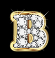 letter b gold and diamond vector image vector image