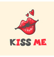 lips kiss patch sticker isolated on white vector image