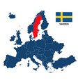 map of europe with highlighted sweden vector image vector image
