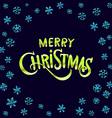 Merry Christmas green glittering lettering design vector image vector image