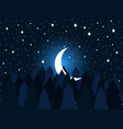 moon in the fir trees flat midnight a crescent vector image