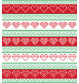 nordic seamless pattern with hearts cross stitched vector image vector image