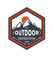 outdoor hiking expedition vintage isolated badge vector image vector image