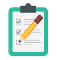 pencil checking on to do list isolated on white vector image