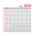practical light-colored planner 2018 april flat vector image