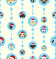 seamless wallpaper with heads dogs in santa hats vector image vector image