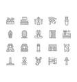 set egyptian culture line icons caravan vector image