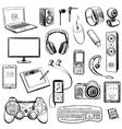 set hand drawn gadget icons vector image vector image