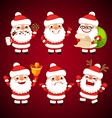 set of cartoon santa claus poses vector image