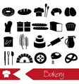 simple black bakery items icons set eps10 vector image vector image
