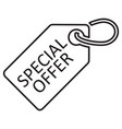 special offer tag line icon black color vector image