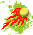 tennis ball on fire vector image vector image