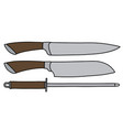 the set of large kitchen knives vector image vector image