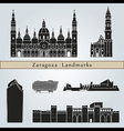 Zaragoza landmarks and monuments vector image vector image
