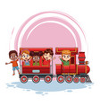 kids on train cartoon vector image