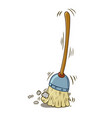 a cartoon broom sweeping by itself vector image vector image